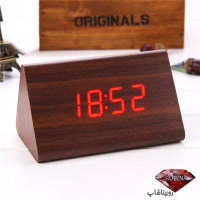 ساعت رومیزی دیجیتالی طرح چوبی